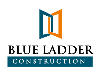 Construction logo blue ladder